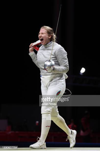 Anna Bashta of Team Azerbaijan reacts during her bout against Anne-Elizabeth Stone of Team United States in Women's Sabre Individual second round on...