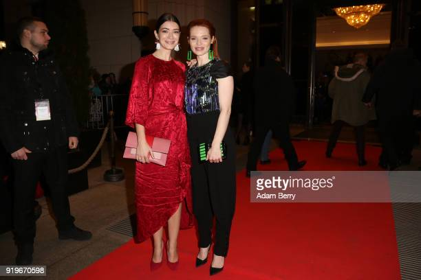 Anna Bederke and Karoline Herfurth attend the Medienboard BerlinBrandenburg Arrivals during the 68th Berlinale International Film Festival Berlin at...