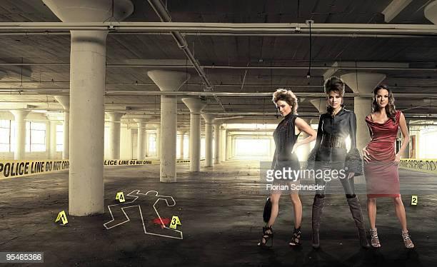 Anna Belknap of CSI New York Liz Vassey of CSI Las Vegas and Eva La Rue of CSI Miami pose for Emmy Magazine in Los Angeles 2009