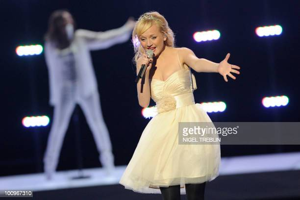 Anna Bergendahl from Sweden performs her song This Is My Life on May 26 2010 in Baerum near Oslo during a rehearsal for the second semifinal of the...