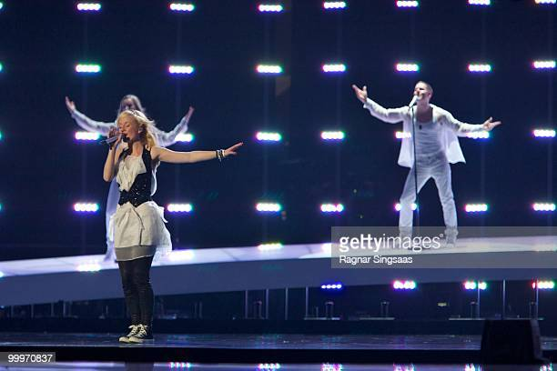 Anna Bergendahl of Sweden performs at the open rehearsal at the Telenor Arena on May 18 2010 in Oslo Norway In all 39 countries will take part in the...