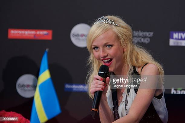 Anna Bergendahl of Sweden performs during a press conference after the open rehearsal at the Telenor Arena on May 18 2010 in Oslo Norway In all 39...