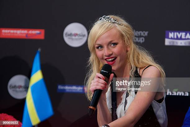 Anna Bergendahl of Sweden performs during a press conference after the open rehearsal at the Telenor Arena on May 18 2010 in Oslo Norway 39 countries...