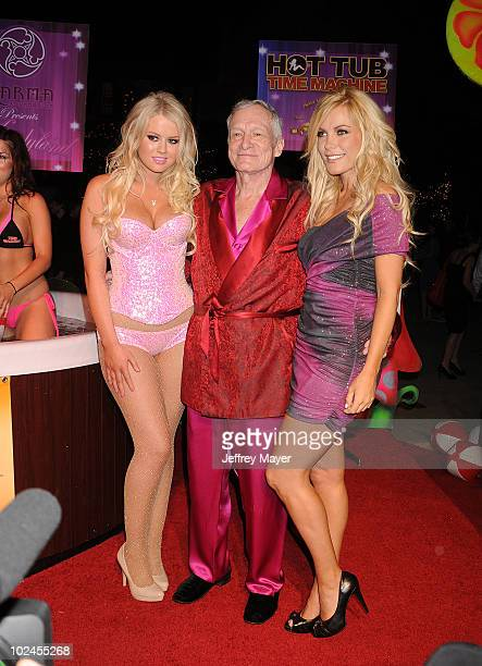 Anna Berglund Hugh Hefner and Crystal Harris arrive at the Kandyland V Benefit and Hot Tub Time Machine Blu ray DVD Launch at The Playboy Mansion on...
