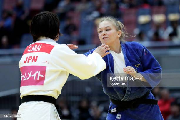 Anna Bernholm of Sweden competes against Chizuru Arai of Japan in the Women's 70kg final match on day two of the Grand Slam Osaka at Maruzen Intec...
