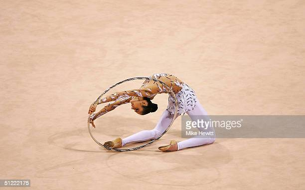 Anna Bessonova of the Ukraine competes in the rhythmic gymnastics individual qualifications on August 26 2004 during the Athens 2004 Summer Olympic...