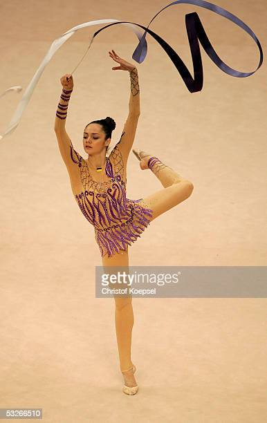 Anna Bessonova of the Ukraine in action during the rhythmic gymnastics in the discipline club during the World Games 2005 July 21 2005 in Duisburg...