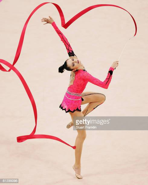 Anna Bessonova of the Ukraine performs during the rhythmic gymnastics individual finals on August 29 2004 during the Athens 2004 Summer Olympic Games...