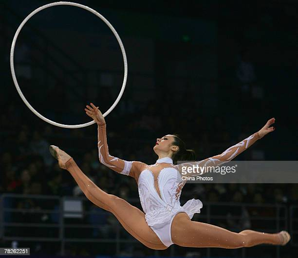 Anna Bessonova of Ukraina performs during the qualification competition at the 'Good Luck Beijing' Rhythmic Gymnastics International Invitational...