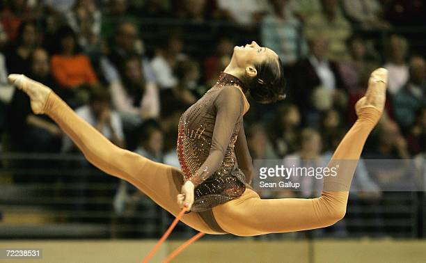 Anna Bessonova of Ukraine competes at the Berlin Masters 2006 Rhythmic Gymnastics competition at the Max Schmelling hall October 22 2006 in Berlin...