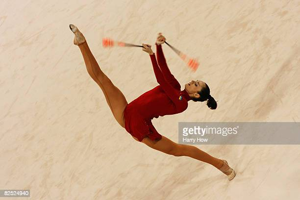Anna Bessonova of Ukraine competes in the Individual AllAround final held at the University of Science and Technology Beijing Gymnasium on Day 15 of...