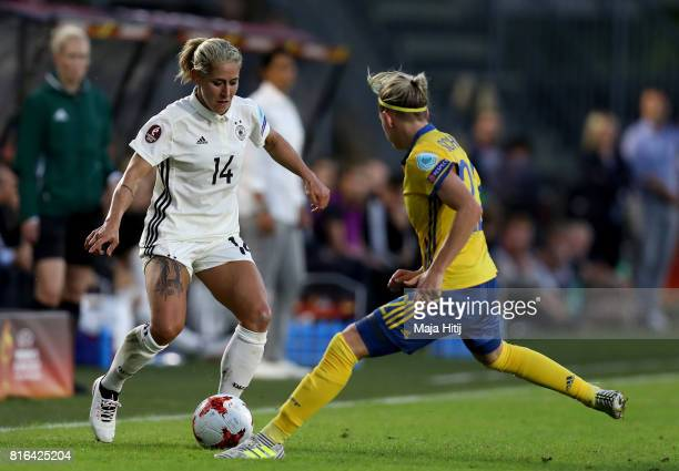 Anna Blaesse of Germany and Olivia Schough of Sweden compete for the ball during the Group B match between Germany and Sweden during the UEFA Women's...