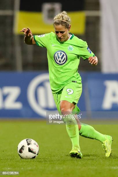 Anna Blaesse of Wolfsburg controls the ball during the Women's DFB Cup Quarter Final match between FC Bayern Muenchen and VfL Wolfsburg at the...