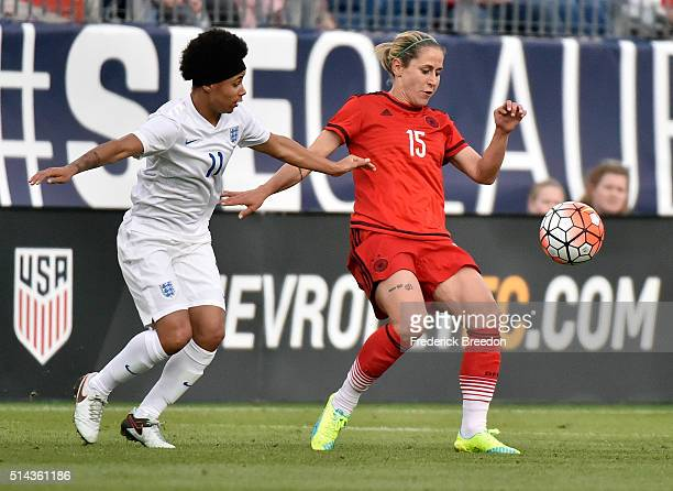 Anna Blasse of Germany plays against Demi Stokes of England in a friendly international match in the Shebelieves Cup at Nissan Stadium on March 6...