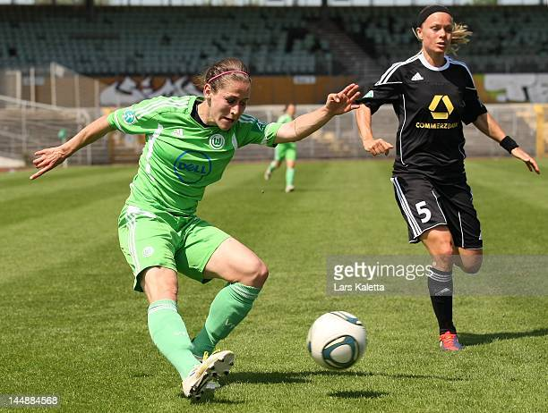 Anna Blasse of VfL Wolfsburg kicks the ball during the Women's Bundesliga match between VfL Wolfsburg and 1 FFC Frankfurt at Stadion am Elsterweg on...