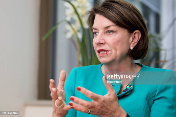 Anna Bligh chief executive officer of the Australian Bankers' Association speaks during an interview in Sydney Australia on Monday Aug 14 2017...