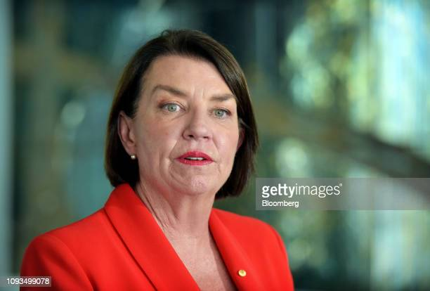 Anna Bligh chief executive officer of the Australian Banking Association speaks during a news conference at Parliament House in Canberra Australia on...