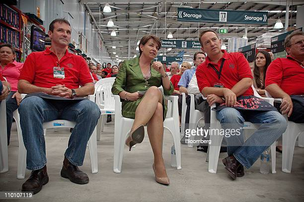 Anna Bligh premier of Queensland center attends the reopening of a Bunnings Warehouse store in the floodaffected area of Oxley in Brisbane Australia...