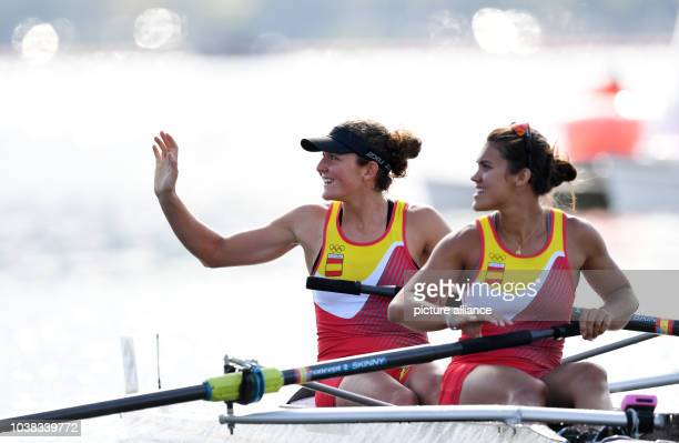 Anna Boada Peiro and Aina Cid I Centelles of Spain celebrate after the Women's Pair Semifinals of the Rowing events of the Rio 2016 Olympic Games at...