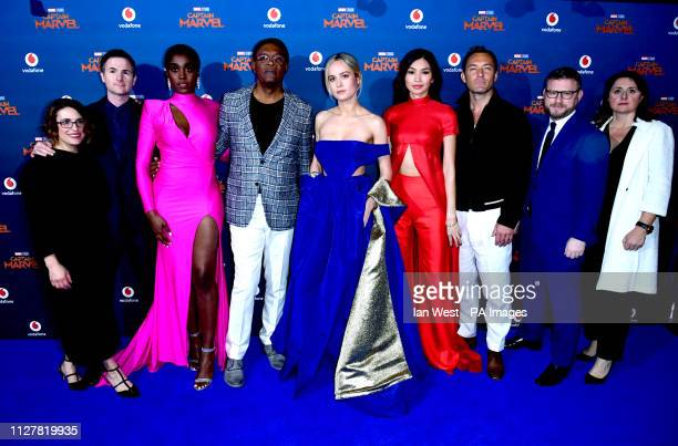 Anna Boden Ryan Fleck Lashana Lynch Samuel L Jackson Brie Larson Gemma Chan Jude Law Jonathan Schwartz and Victoria Alonso attending the Captain...