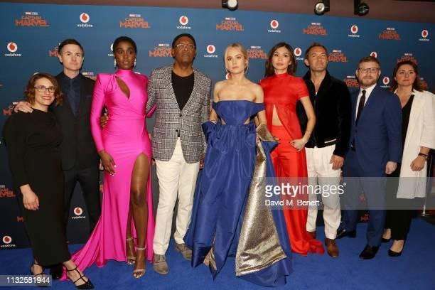Anna Boden Ryan Fleck Lashana Lynch Samuel L Jackson Brie Larson Gemma Chan Jude Law Jonathan Schwartz and Victoria Alonso attend the European Gala...