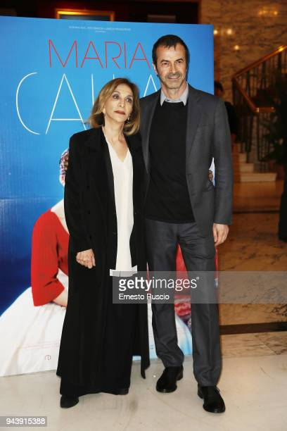 Anna Bonaiuto and Andrea Occhipinti attend 'Maria by Callas In Her Own Words' preview at Teatro Dell' Opera on April 9 2018 in Rome Italy
