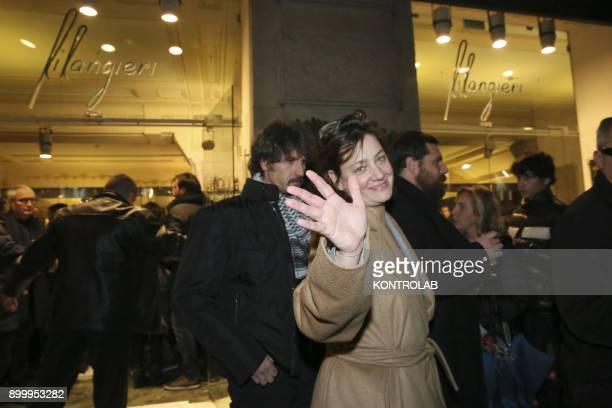 Anna Bonaiuto greeting fans at the premier of 'Napoli Velata' directed by Ferzan Ozpetek main actors Giovanna Mezzogiorno and Alessandro Borghi and...