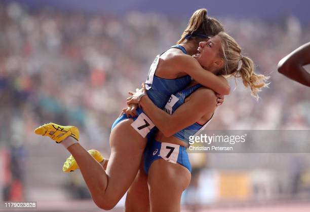 Anna Bongiorni and Irene Siragusa of Italy celebrate after competing in the Women's 4x100 metres relay heats during day eight of 17th IAAF World...