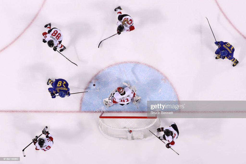 Anna Borgqvist #18 of Sweden makes a shot on Florence Schelling #41 of Switzerland during the Women's Ice Hockey Preliminary Round Group B game on day five of the PyeongChang 2018 Winter Olympics at Kwandong Hockey Centre on February 14, 2018 in Gangneung, South Korea.