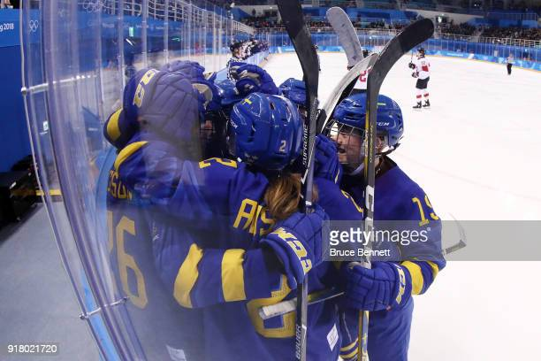 Anna Borgqvist of Sweden reacts after scoring a goal against Switzerland during the Women's Ice Hockey Preliminary Round Group B game on day five of...