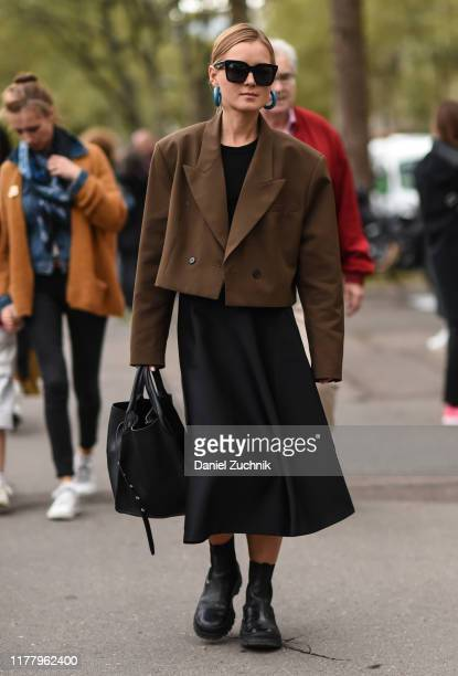 Anna Borisovna is seen outside the Valentino show during Paris Fashion Week SS20 on September 29, 2019 in Paris, France.
