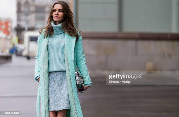 Anna Brain wearing a mint Trends Brands sweater turtleneck a min vintage skirt a mint Sandro wool coat and a silver Proenza Schouler bag on October...