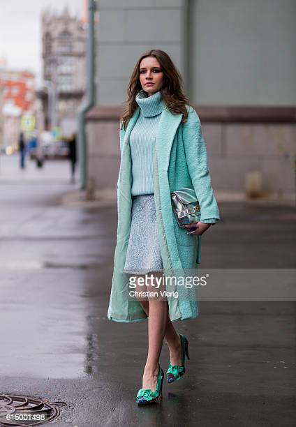Anna Brain wearing a mint Trends Brands sweater turtleneck a min vintage skirt a mint Sandro wool coat Lanvin for HM pumps and a silver Proenza...