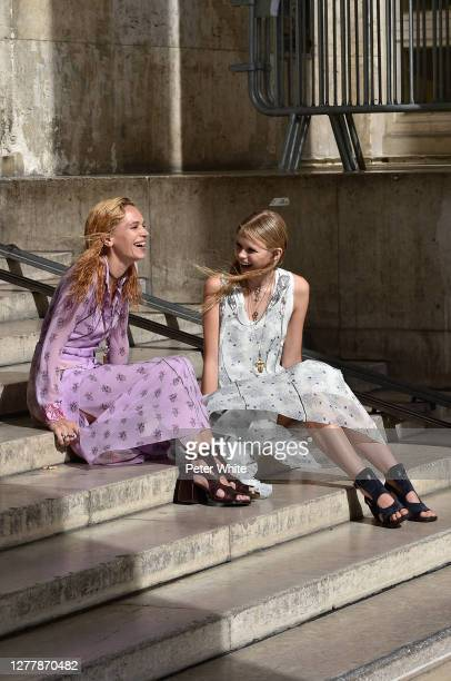 Anna Brewster and a model seen at the Palais de Tokyo prior the Chloe Womenswear Spring/Summer 2021 show as part of Paris Fashion Week on October 01,...