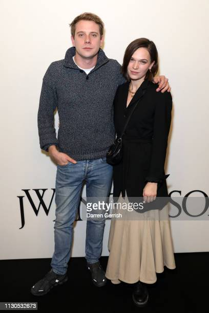 Anna Brewster and JW Anderson attends the JW Anderson show during London Fashion Week February 2019 at the Yeomanry House on February 18 2019 in...