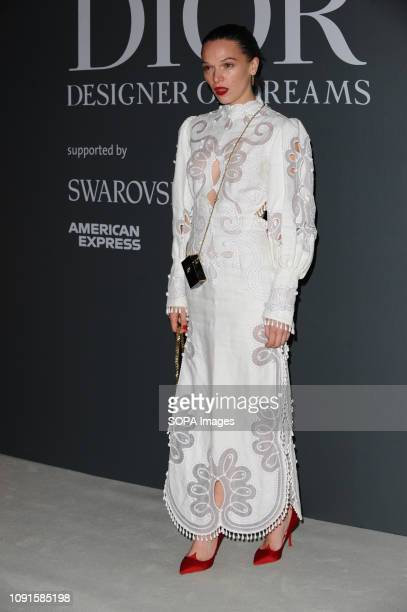 Anna Brewster attends the Christian Dior Designer of Dreams fashion exhibition supported by Swarovski at the VA Museum London