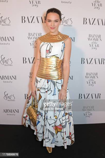 Anna Brewster attends the Harper's Bazaar Women of the Year Awards 2019 in partnership with Armani Beauty at Claridge's Hotel on October 29 2019 in...