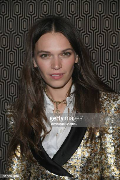 Anna Brewster attends the Miu Miu aftershow party as part of the Paris Fashion Week Womenswear Spring/Summer 2018 at Boum Boum on October 3 2017 in...