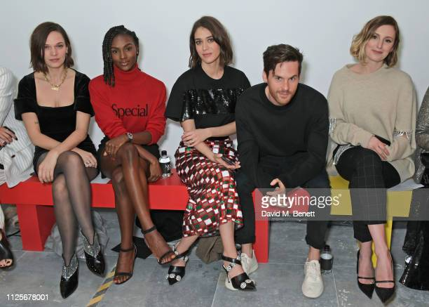 Anna Brewster Dina AsherSmith Lizzy Caplan Tom Riley and Laura Carmichael attend the Christopher Kane show during London Fashion Week February 2019...