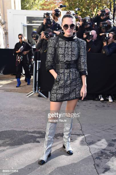 Anna Brewster is seen arriving at Chanel show during Paris Fashion Week Womenswear Spring/Summer 2018on October 3 2017 in Paris France