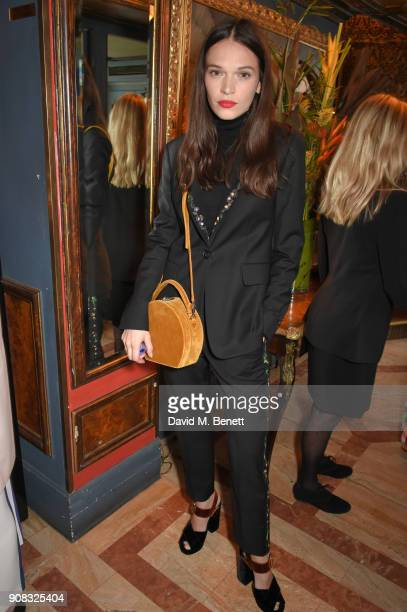 Anna Brewster wearing Paul Smith attends the Paul Smith Malgosia Bela AW18 Lunch on January 21 2018 in Paris France
