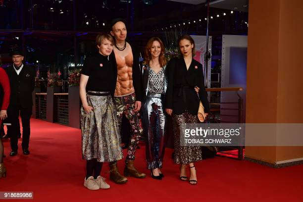 Anna Brueggemann and her brother Dietrich Brueggemann pose with German actress Lavinia Wilson and Sina Tkotsch on the red carpet upon their arrival...