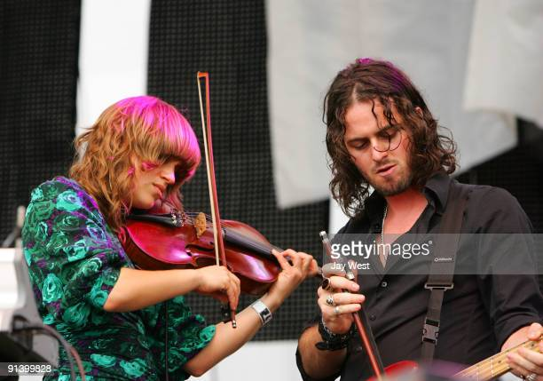 Anna Bulbrook and Noah Harmon of The Airborne Toxic Event perform on day 2 of the Austin City Limits Music Festival at Zilker Park on October 3, 2009...