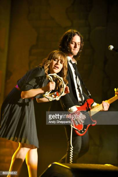 Anna Bullock and Noah Harmon of Airborne Toxic Event perform on stage at the Bat Bar as part of the SXSW 2009 Music Festival on March 19 2009 in...