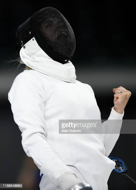 Anna Buriak of Russia celebrates during the Women's Fencing Ranking round on day one of the UIPM World Cup, Modern Pentathlon test event for the...