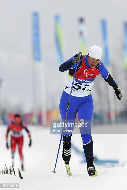 Anna Burmistrova of Russia took the silver medal in the Women's Standing 15km Cross Country race at Pragelato Plan on March 19 2006 in Italy