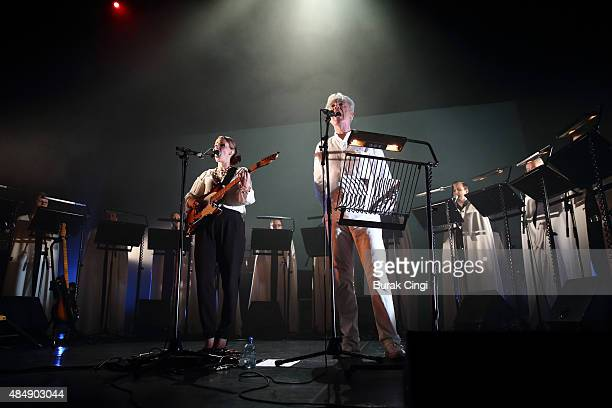 Anna Calvi and David Byrne perform live on stage at Queen Elizabeth Hall on August 22 2015 in London England