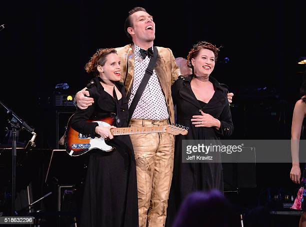Anna Calvi Jherek Bischoff and Amanda Palmer perform 'Blackstar' onstage at Michael Dorf Presents The Music of David Bowie at Radio City Music Hall...