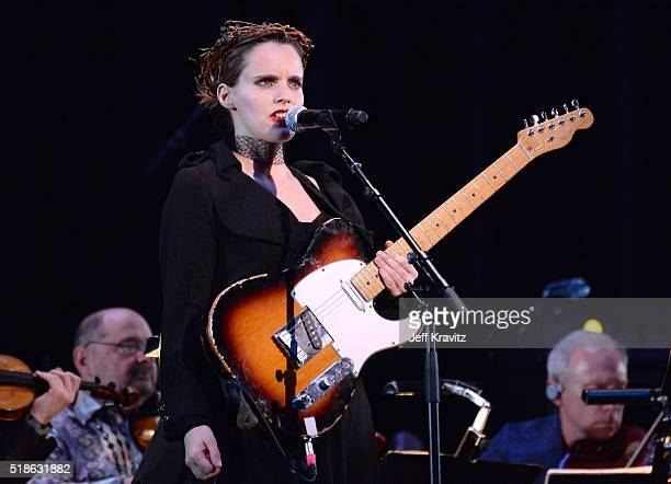 Anna Calvi performs 'Blackstar' onstage at Michael Dorf Presents The Music of David Bowie at Radio City Music Hall on April 1 2016 in New York City