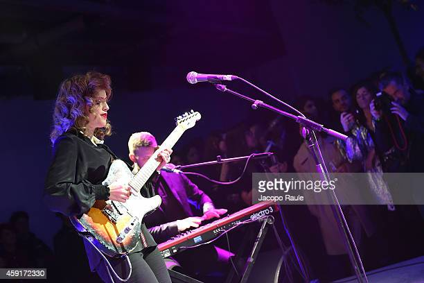 Anna Calvi performs during the Trussardi Jeans FW 15/16 event at Laboratori Ansaldo Scala on November 17 2014 in Milan Italy